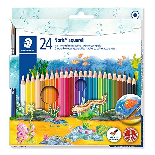 STAEDTLER Noris Club 144 10NC24 Aquarell-Buntstifte, erhöhte Bruchfestigkeit, sechskant, Set mit 24 brillanten Farben, kindgerecht nach EN71, PEFC-Holz, mehrfarbig, 24 Stück