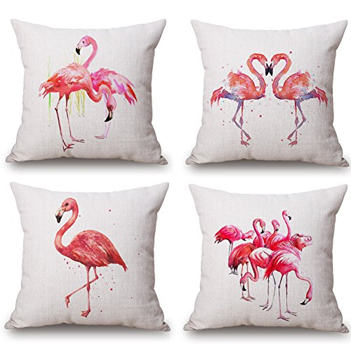 HuifengS Funda de Almohada Flamingo de Lino Fundas de Cojines Serie de Flamenco Decoración Oficina en Casa Sofá Juego de 4 Fundas de Cojín 45x45cm