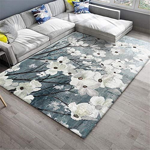 Kunsen Alfombra bebé alfombras Infantiles Grandes Sala de Estar Alfombra Azul patrón de Planta Blanca decoración de Dormitorio cojin Suelo Grande 120X160CM 3ft 11.2' X5ft 3'