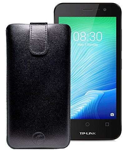 Original Favory Etui Tasche für TP-LINK Neffos Y50 | Leder Etui Handytasche Ledertasche Schutzhülle Hülle Hülle Lasche mit Rückzugfunktion* in schwarz
