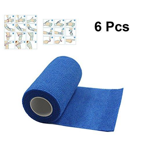 ROSENICE Bandage Wrap 6 Rolls 7.5x450cm Medical Selbstklebende elastische Bandage Cohesive Wrap Bandagen für Athletic Sport (blau)