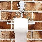 KLDX Portarrollos de Papel higiénico de Hierro Fundido - Portarrollos de Papel higiénico de Hierro Fundido montado en la Pared - Diseño Europeo Vintage - 21 * 10 * 20CM (Blanco)