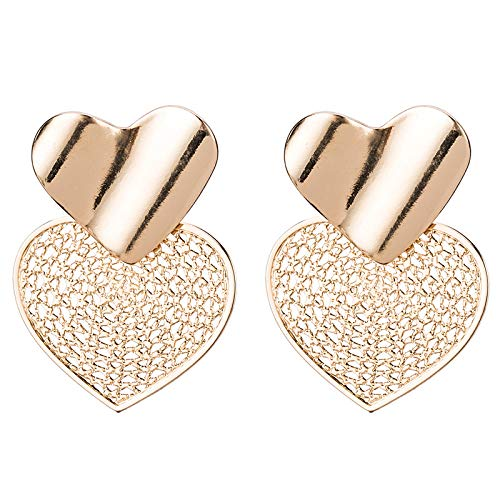 SHANGZHIQIN Joyería de Tendencia en Forma de corazón con baño de aleación, Pendientes Huecos de Grandes Marcas de Europa y Estados Unidos, Oro de diseño de atmósfera Noble