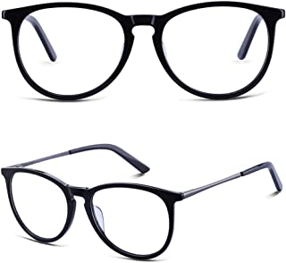BRUWEN Round Vintage Glasses Frames for Women Men, Black...