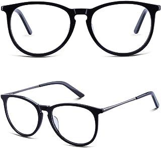 BRUWEN Round Vintage Glasses Frames for Women Men, Black...
