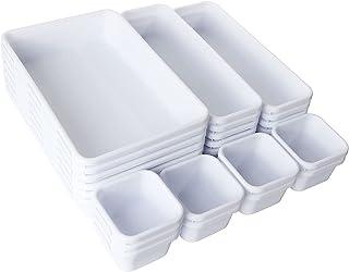 GOYADA 24 Pcs Organisateur de Tiroir Bureau, Séparateurs de Tiroir en Plastique Rangement Maquillage Blanc avec 3 Tailles ...