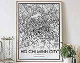 MG global Ho Chi Minh Stadtkarte, Schwarz-Weiß, Druck von