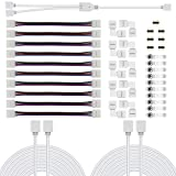 Chesbung 5050 Kit di connettori per strisce LED RGB a 4 pin Kit di connettori LED RGB a 2 vie, 10mm Connettori per connettori a striscia PBC LED, cavo di prolunga RGB, clip per striscia LED