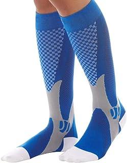 Muzhili3 - Calcetines Largos de compresión elásticos para Hombre y Mujer, Nailon, Azul, S/M