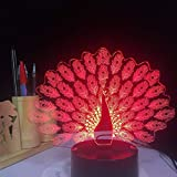 BFMBCHDJ Peacock Spreads Tail Peafowl 3D LED Nachtlicht 7 Farbwechsel Tier Tischlampe Wohnkultur...