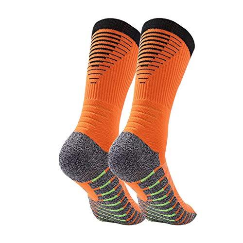 Manbozix Calcetines de Hombre Calcetines Deportivos Transpirables Calcetines de Fútbol Calcetines Deportivos Antideslizantes Unisex 38-45, Control de Humedad, Naranja