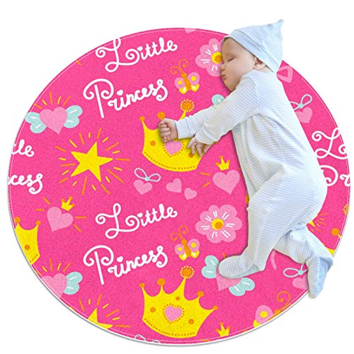 Alfombra redonda antideslizante para niños con círculo circular lavable a máquina, rosa amarillo corona flores princesa