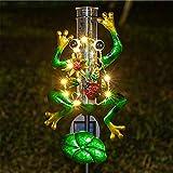 Litake Frog Rain Gauge Outdoor Decorative Metal Solar Rain Gauges Stake for Garden Yard, 6...
