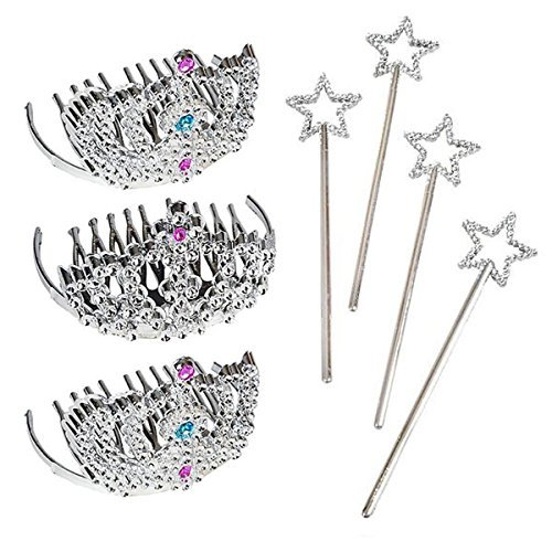 24 Piece Mini Tiara and Star Wand Party Pack - Party Favors, Goody Bags, Princess, Dress Up, Halloween, Prizes
