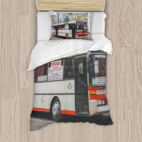 Dachangtui Juego de Cama de poliéster, Rostov on Don Russia May 2018 City Modern Bus on The Street in The City Center Rides Behind hurrying Juego de 3 Piezas, Funda nórdica Suave, Tela de algodón