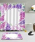 ZSQQSCL Cortina De Ducha,Patrón De Flores Púrpura De Personalidad Bamboleantes 100% Poliéster Impermeable Resistente Al Moho Matéria Cortinas De Baño con Ganchos De 12Pcs para El Hogar Y La Protecci