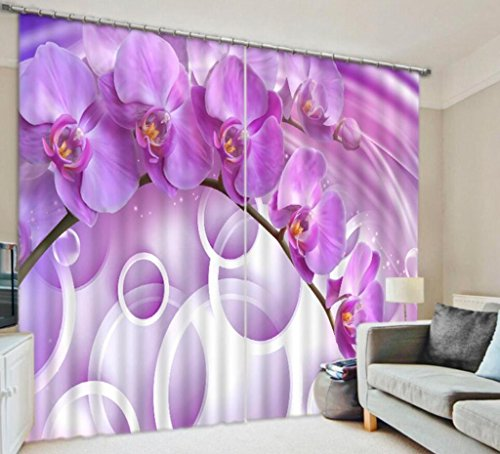 GFYWZ Cortinas de Poliéster 3D Orquídea Mariposa El estéreo Tres Dimensiones Efecto Visual Impresión Digital Reducción de Ruido de apagón Drape Window Drapes Panels for Bedroom, Wide 2.64x High 1.6