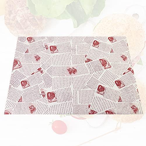 AFASOES 100 Blätter Geschenkpapier zum Backen 360*260mm Fettdichtes Papier Butterbrotpapier Hamburger Papier Hamburgerpapier Lebensmittelverpackungs Papier Wachspapier für Burger Sandwich Obstbrot