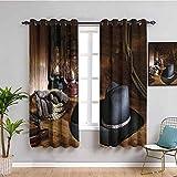 Western Decor Cortina de ventana American Rodeo Equipo con sombrero de fieltro vaquero Herramientas de ranching Linternas Traer belleza negro y marrón W108 x L84 pulgadas