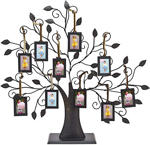 Philip Whitney Metal Family Tree Picture Frames with 10 Hanging Photo Frames