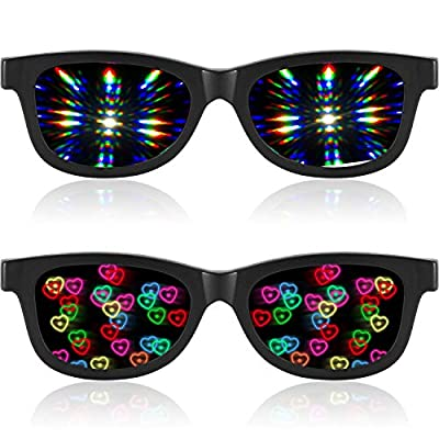 2 Pairs Rave Ultimate Diffraction Glasses Heart Effect Glasses 3D EDM Rave Sunglasses