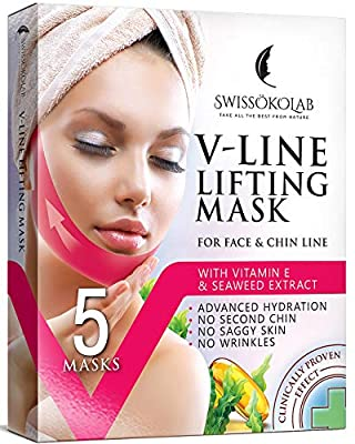 Double Chin Reducer V Line Lifting Mask Face Slimming Strap Chin Neck V Shaped Lift Tape Chin Up Patch V Up Contour Tightening Firming 5 pcs by SWISSÖKOLAB