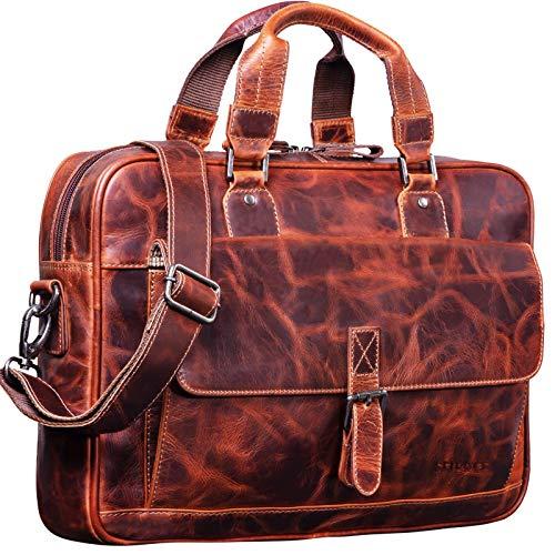 STILORD 'Aurora' Bolso de Negocios o maletín de Cuero para Mujeres Bolsa de portátil o MacBook de 13.3 Pulgadas para Damas de Piel Genuina, Color:Milano - marrón