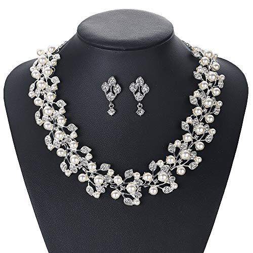 MDELAO Damen Hochzeit Braut Perlen-Kristalltropfen Cluster Statement Halskette Schmuck-Set