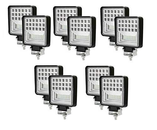 Flexzon - 10 luces LED de trabajo de 12-24 V, 126 W, todoterreno, camioneta, todoterreno, barra de coche
