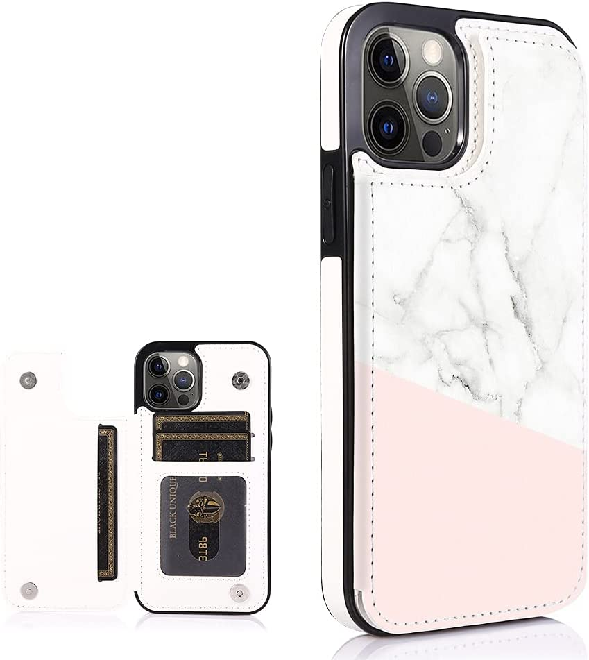 Obbii Marble Leather Flip Case Wallet Compatible with iPhone 12 Pro/12 6.1