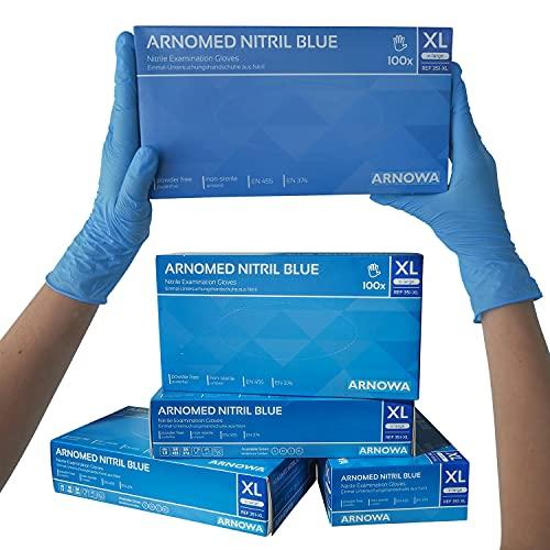ARNOMED Nitril Einweghandschuhe XL, puderfrei, latexfrei, 100 Stück/Box, Einmalhandschuhe, Blaue Nitrilhandschuhe, in Gr. S, M, L & XL verfügbar