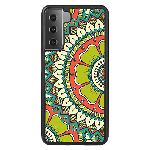 UZEUZA Entworfen für Samsung Galaxy S21 Reifen Hülle Schwarz Kanten Schutzhülle für Samsung Galaxy S21 Mandala Grün Sectored