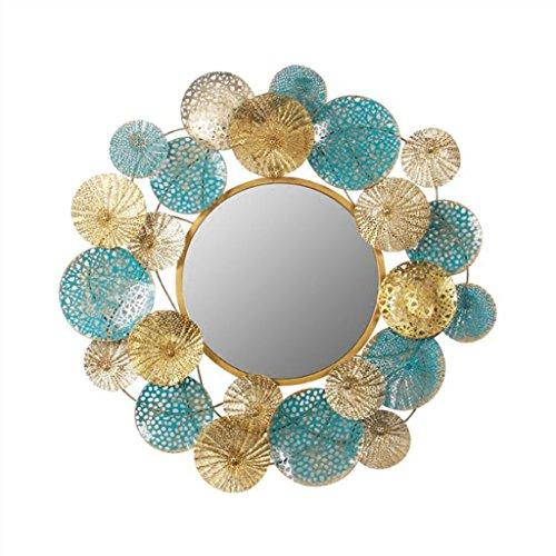 Espejo montado en la Pared Redonda Grande enmarcada Decorativa Acabado Dorado Vintage en Estilo Antigua barroca Espejos de Pared