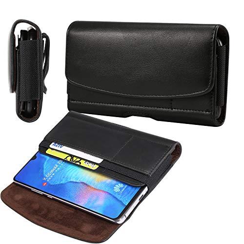 SZCINSEN Funda de piel para Samsung Galaxy S20+/S20 Ultra / S10 Lite/Note 10+/A70/A70S/A20S A80 A90 con clip para cinturón y cinturón para Huawei Mate 20x, funda tipo cartera con tarjetero