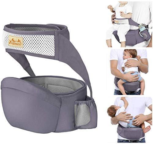 Viedouce Hip Seat Carrier Waist Stool with Safety Belt Protection for Baby Ergonomic Carriers for 6-24mo, Dark Gray