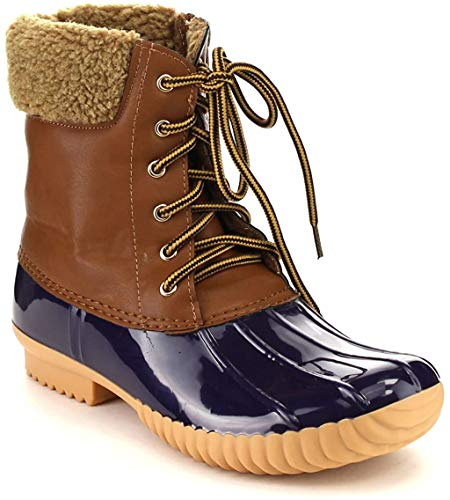 Nature Breeze DUCK-02 Women Stitching Lace Up Side Zip Waterproof Insulated Boot, Color:Blue, Size:5.5