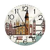vnsukdlfg Round Wall Clocks Home Decorative,London,Travel Scenery Famous City England Big Ben Telephone Booth Westminster,Cream,Diameter 9.8'(25cm),Christmas Gifts