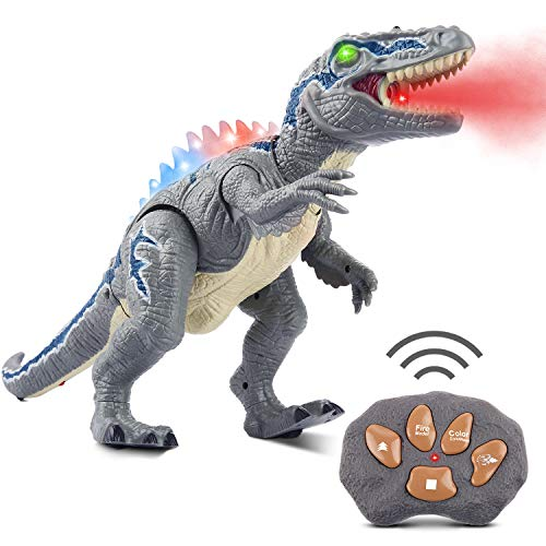 Remote Dinosaur Toys for Boys Girls FLYNOVA Remote Control Dragon Roaring Realistic Sounds RC Dinosaur Spraying Walking with LED Lights TRex Toy with Glowing Eyes Gift for Kids Age 3 4 5 6 7 8 9