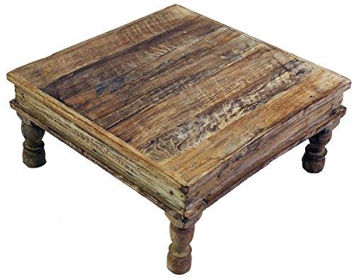 Guru-Shop Kleiner Tisch, Blumenbank, Kaffeetisch, Beistelltisch, Couchtisch - Modell 19, Braun, 15x45x45 cm, Kaffeetische & Bodentische