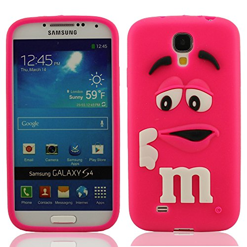 Hot-Pink Silicona Prima Funda protector para Samsung Galaxy S4 i9500, Dibujos Animados Estilo 3D Modelado Carcasa para Samsung Galaxy S4, Samsung Galaxy S4 Case Cover, Vistoso Suave y Elástico Delgado