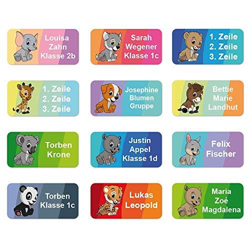 foliado® Namensaufkleber Kinder Tiere bis zu 3-zeilig Etikett 30x15mm Sticker Namensetikett Schule Kita Kleidung APD-007 (60)