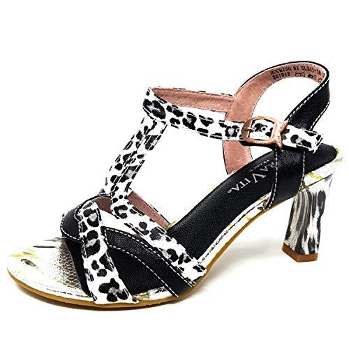 Laura Vita, Hucmiso 01, sandalias de piel para mujer, zapatos de ciudad de verano, brida para tobillo con suela cómoda de tacón, estilo original flor, negro, Negro (Negro ), 37 EU