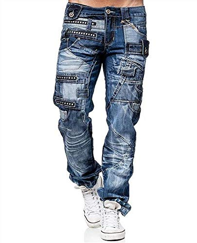 Kosmo Lupo Jeans KM001 Regular Fit Washed Style Club Wear - Pantalones vaqueros
