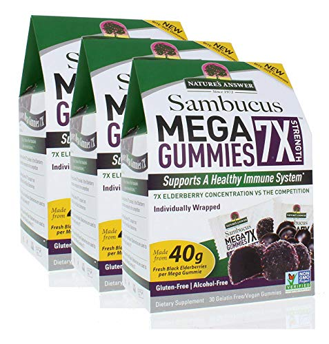 Nature's Answer Sambucus Mega Gummies | 7X More Elderberry Concentration | Alcohol-Free, Gluten-Free, Gelatin-Free, Vegan, Non-GMO & No Preservatives | 30ct Gummies (Pack of 3)