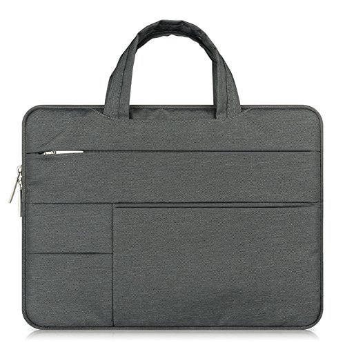 Notebook Tasche MacBook Laptop Tablet Hülle bis 12-12.1 Schutztasche aus robustem Nylon 2 ZubehörfächerVerstärkte Polsterwände Dunkelgrau