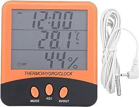 Higrómetro termómetro digital, higrómetro termómetro 230A con función de reloj, medidor de temperatura y humedad para el hogar, la oficina