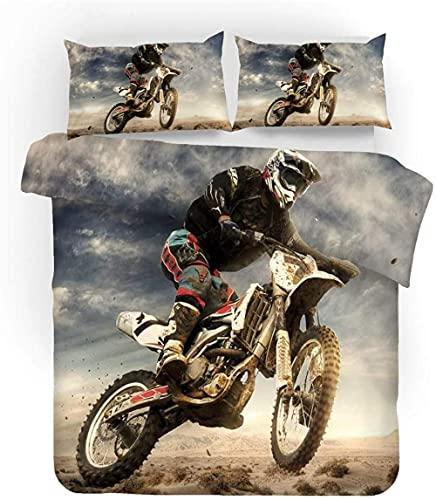 LJHHHH Funda nórdica Piloto de Motocross Juego de Ropa de Cama 160 x 200 cm Poliéster impresión Digital 3D para niños Adultos con
