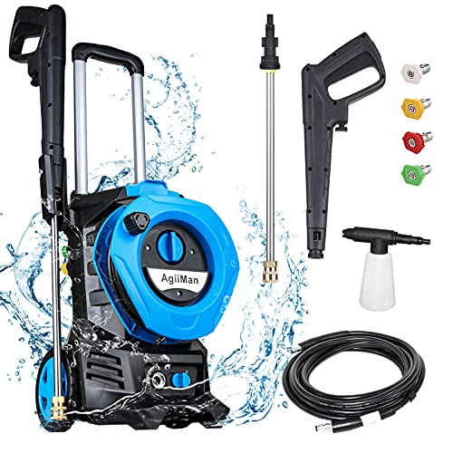 AgiiMan 3380PSI Electric Pressure Washer - High Power Pressure Washers 2.0 GPM + 1800W with Spray Gun 4 Nozzles Foam Cannon and Hose Reel for Cars, Homes, Driveways, Patios, Blue