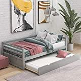 Wood Daybed with a Trundle, Trundle Daybed Twin Size, Standard Twin Bed Frame, No Box Spring Required (Grey Trundle Daybed)