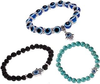Turkish Evil Eye Good Luck Bracelet Murano Glass Bead Stretch Kabbalah Jewelry for Protection